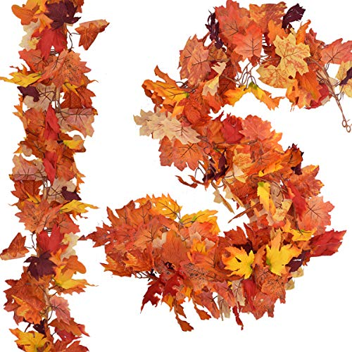 2 Pack Fall Maple Leaf Garland 5.9Ft/Piece Autumn Leaves Artificial