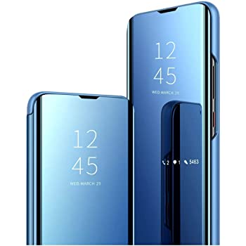Clickfleek Smart Luxury Clear View Mirror Flip Cover for Vivo S1 Pro (Blue)