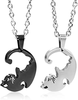 Men,Women's 2PCS Stainless Steel Pendant Necklace Cat Jigsaw Puzzle Love Valentine Couple Set -with 20 and 23 Inch Chain