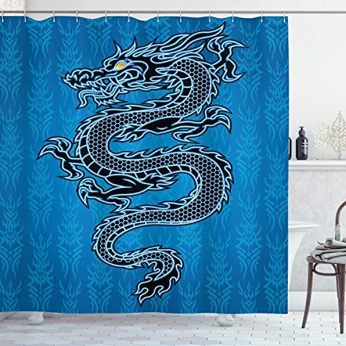 ABAKUHAUS Japanische Drachen Duschvorhang, Jahr des Drachen, Seife Bakterie Schimmel & Wasser Resistent inkl. 12 Haken & Farbfest, 175 x 200 cm, Blau Schwarz Weiß