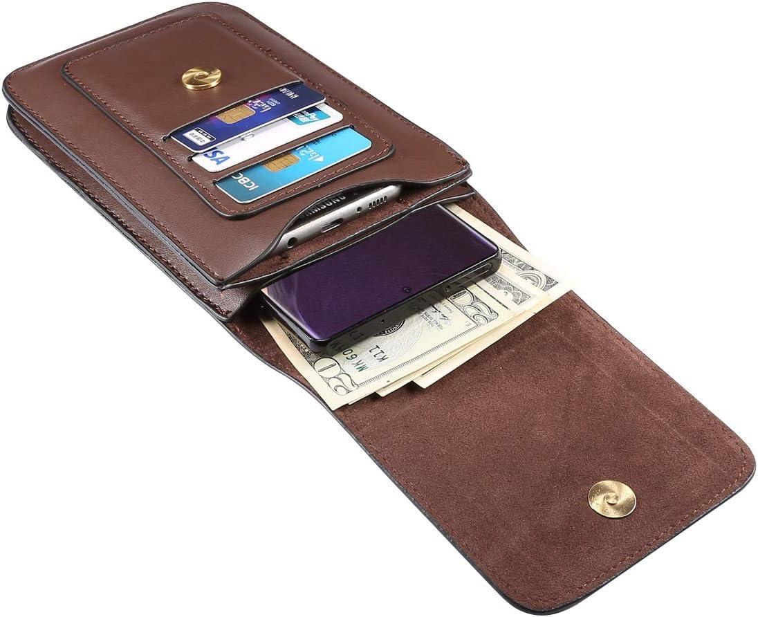 Men Cell Phone Holster, Dual Layer Wallet Case Card Slot Belt Clip Holster For Motorola One / One Fusion+ / One Action / Motorola Edge / Moto G Power / G Stylus / G8 Plus / G8 Power / G7 Plus (Brown)