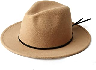 WUNONG-AU 2019 Men's and Women's Autumn and Winter Fedora hat Black Cloth Bandwidth Side Jazz hat Outdoor Humbold Travel Woolen hat (Color : Khaki, Size : 56-58)