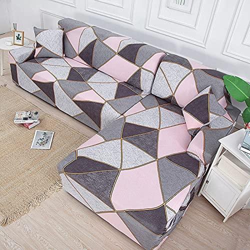 Funda de sofá elástica geométrica Necesita Pedir Funda de sofá de 2 Piezas Si sofá de Esquina seccional Estilo L Abrigo Ajustado Capa de sofá A9 4 plazas