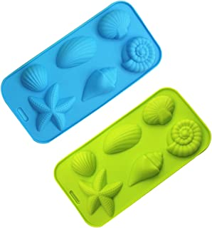 Ice Cube Trays Silicone Mold for Ice, Jelly, Chocolate and Soap - 6 Starfish Conch Shell Shape Ice Mold, Set of 2
