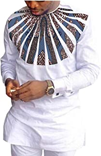 African Ankara Print Men Set Full Sleeve Top with Appliques and Full Length Pants 100% Batik Cotton Made AA1816010