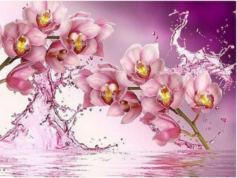 Cross Stitch Full Diamond Home Decor Beautiful Water Pink Flower Hand Made Mural Needlework Crystal DIY 5d Diamond Painting,45x60cm