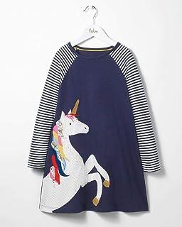 فستان بناتي مستقيم بأكمام طويلة للأطفال فساتين زهرة وحيد القرن للفتيات فساتين خريفية للأطفال