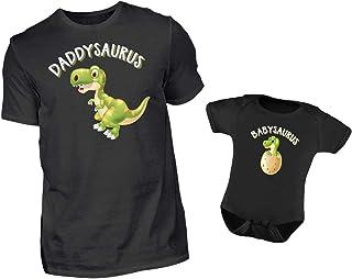 PlimPlom Vater Baby Partnerlook Set T-Shirt Und Baby Body Strampler Daddysaurus Und Babysaurus XL & 12-18 Monate