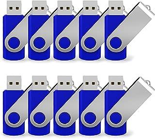 JUANWE 10 Pack 8GB Bulk USB 2.0 Flash Drive Swivel Thumb Drive Jump Drive Memory Stick Pen Drive - Blue
