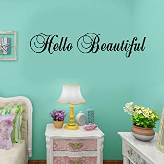 BUCKOO Hello Beautiful Inspirational Quotes Wall Decal,Bathroom Mirror Stickers Removable Vinyl Carved Non-Toxic Environmental Protection Wall Decoration Art,Black