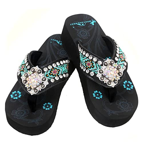840348b2eee6 Montana West Women s Hand Beaded Flip Flop Sandals