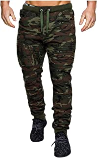 Pantalones Chandal de Personalidad para Hombres Moda Casual Cordón de Camuflaje Deportivos Trail Running Gym Al Aire Libre...