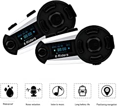ESoku T20S Motorcycle Bluetooth Intercom, 1200m 6 Riders Full Duplex Bluetooth Helmet Headsets, Waterproof Wireless Interphone Support FM Radio, Handsfree and LCD Screen (2 Packs)