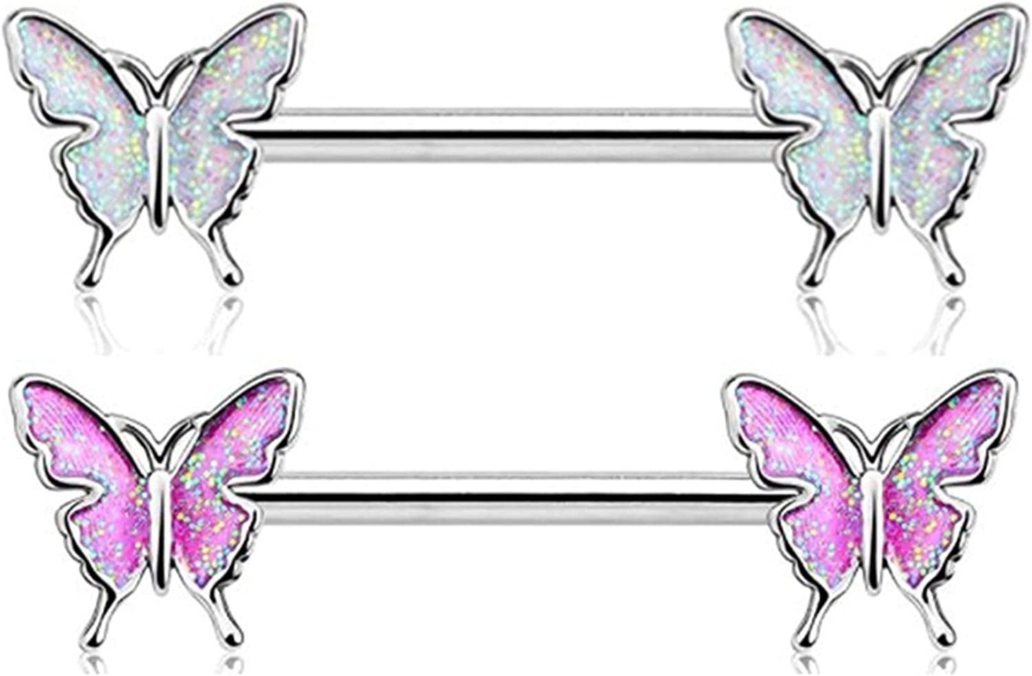CHUXI 2 Pack Butterfly Nipple Barbell Nipple Piercing Butterfly Nipple Jewelry Nipple Ring Bar Stainless Steel Belly Piercing Navel Ring Body Jewelry