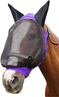 Derby Originals Uv-Blocker Extra Comfort Soft Mesh Lycra Horse Fly Mask with Ears - Our Soft 4 Way Stretch Design Is Easy On Sensitive Ears & Eyes - Multiple Colors & Sizes