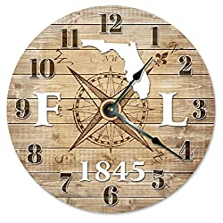 FLORIDA CLOCK Established in 1845 Decorative Round Wall Clock Home Decor Large 10.5 COMPASS MAP RUSTIC STATE CLOCK Printed Wood Image