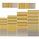 Hymnorq Bulk Mini Twist Drill Bits Set of 60pcs, Jobber Length in 6 Inch Sizes 3/64 1/16 5/64 3/32 7/64 1/8, Precision Ground HSS 4341 and Titanium Coated, for Wood Plastic Iron Aluminum Soft Metals