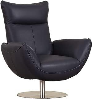 Blackjack Furniture C74-NAVY-CH Skyline Modern Top Grain Italian Leather Swivel Lounge Chair Navy