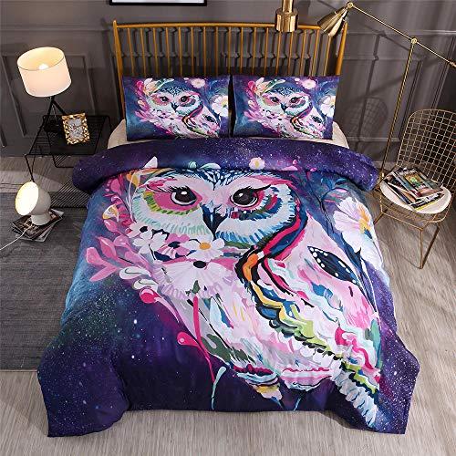 Snoevpar Bettwäsche-Set mit Eulen-Motiv, 200 x 200 cm, 3-teilig, ultraweich, dick, hypoallergen, modern, Bettbezug + 2 Kissenbezüge, 50 x 75 cm