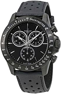 Tissot Men's Stainless Steel Quartz Watch with Leather-Synthetic Strap, Black, 20 (Model: T1064173605100)