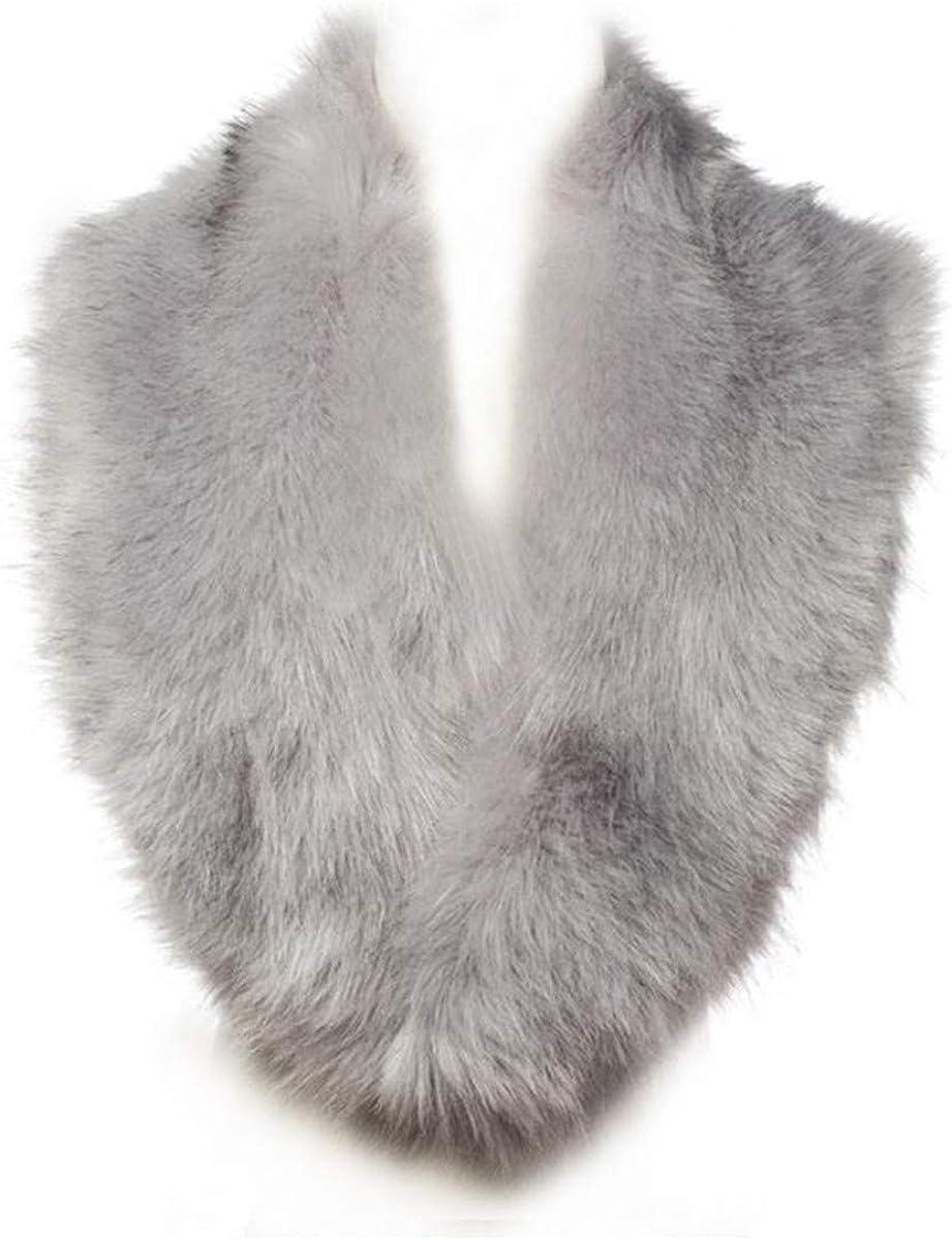 Lucky Leaf Women Winter Faux Fur Scarf Wrap Collar Shrug for Wedding Evening Party
