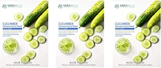 MIRABELLE COSMETICS KOREA Fairness Facial Mask CUCUMBER PACK OF 3 MADE IN KOREA SUITABLE FOR ALL SKIN TYPE