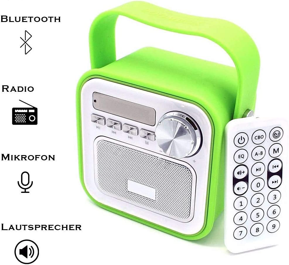 Küchenradio Badradio Grün Mini Bluetooth Lautsprecher mit Radio FM  Fernbedienung Dusche Kinderradio Badezimmer Bad Aux Retro USB Anschluss für  Küche ...