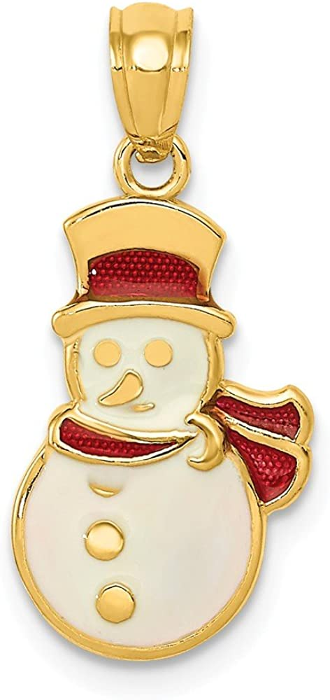 14K Enameled Snowman Pendant