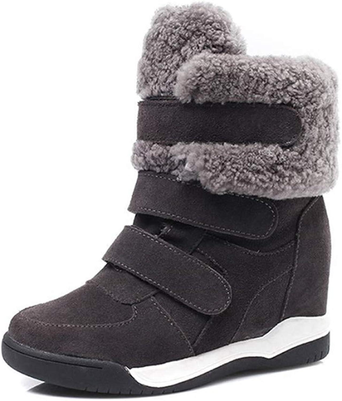 Fay Waters Women's Wedges Lambswool Short Boots Cow Fur Suede Hidden Heel Winter Snow Ankle Booties