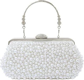 topfive Damen Abendtasche mit Perlenkette für Hochzeit, Party, Braut-Handtasche (weiß)