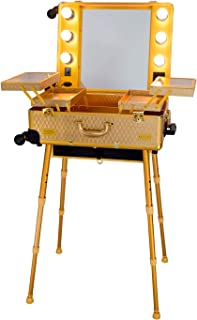 MAYLAN Makeup Box Cosmetic Train Stand Case With Trolley And Lights, Gold - Medium
