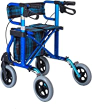 PXY Walking Frame,Lightweight Foldable 4 Wheel Rollator Walker Aid with Padded Seat Lockable Brakes and Storage Bag, Adjus...