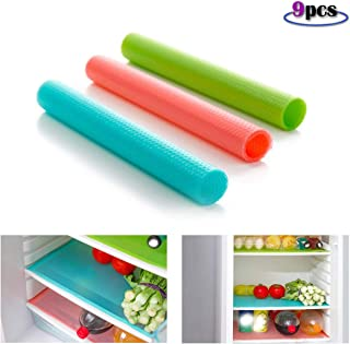 9 Pcs Refrigerator Mat, Multifunction Refrigerator Liners Mats with Washable, Can Be Cut Cabinet Drawer Shelf Liners Waterproof Pad (3 Green, 3 Pink, 3 Blue)