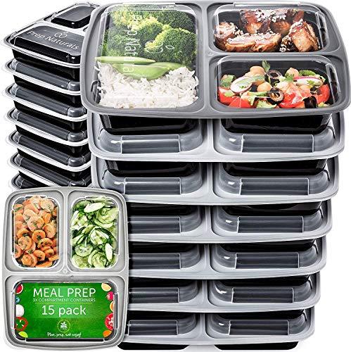Contenitori per Alimenti Bento Box di Prep Naturals | Set di 15 Lunch Box con Coperchio e 3 Scomparti | Contenitore Alimenti Plastica Robusto senza BPA Adatto a Microonde, Freezer e Lavastoviglie