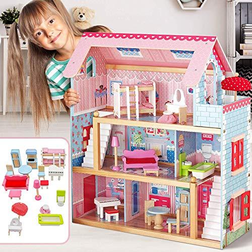 Nova Casa delle Bambole in Legno 76x30x82cm, 3 Livelli di Gioco, 16 Accessori e Mobili Inclusi, 5 Stanze, per Bambole di 13 cm - Casetta per Bambole, Casa Barbie Miniatura