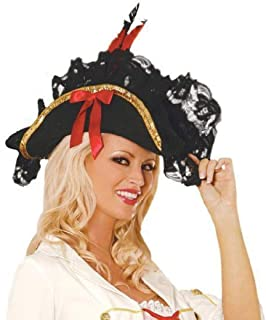 Pirate Hat Lace Feather Bow Details Buccaneer Swashbuckler British Navy