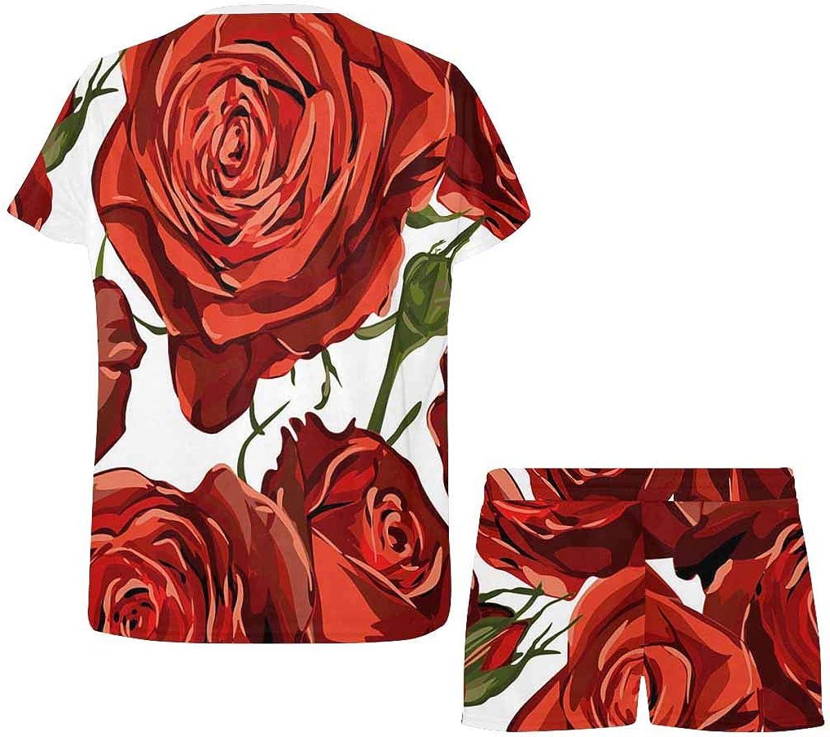InterestPrint Red Roses Pattern Women's Lightweight Pajama Set, Short Summer Pjs