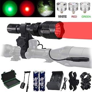 VASTFIRE Predator Light with Interchangeable (Red, Green, White) LED Hunting Flashlight..
