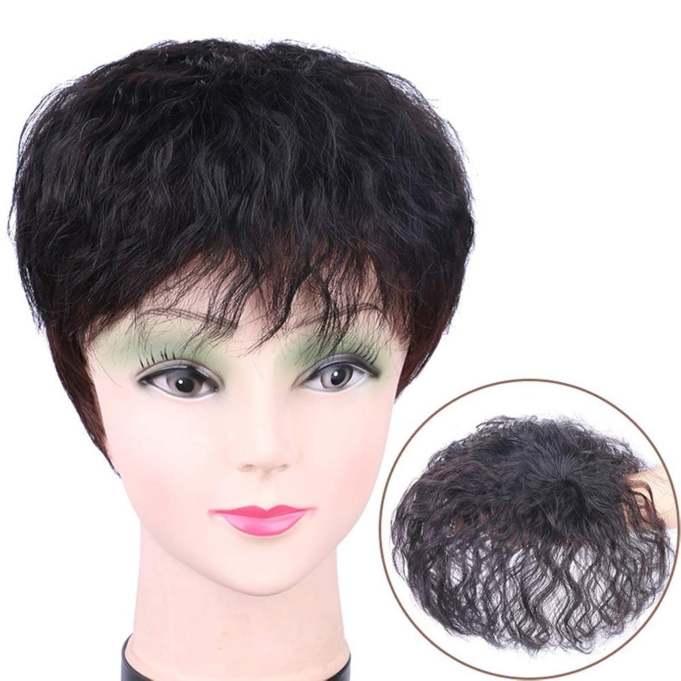 鰐フィラデルフィアミッションBOBIDYEE 白髪のかつらパーティーのかつらをカバーするための完全な人間の毛髪のトウモロコシパーマピースの女性の短い巻き毛のヘアクリップ (色 : Dark brown, サイズ : S)