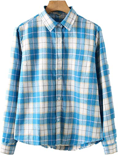 Fesky Camisa a cuadros para mujer de franela a cuadros de manga larga