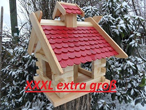 Großes XXXL Vogelhaus Futtersilo Futterhaus Schreinerware Holz Vogelfutter Vogelvilla Vogel Blockhaus Futterspeicher mit / ohne 3-Beinständer Schwarz, Grün, Braun oder Rot (Rot)