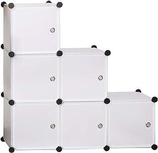 eSituro SGR0034 Armoire avec Penderie Modulable 6 Cubes avec Portes, Étagère de Rangement en Plastique. DIY, Blanc