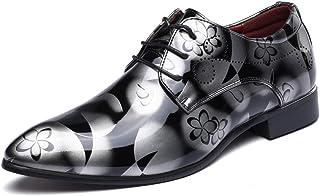 Zapatos Oxford Hombre, Cuero Cordones Vestir Derby Calzado Boda Negocios Marron Azul Gris Rojo 37-50EU