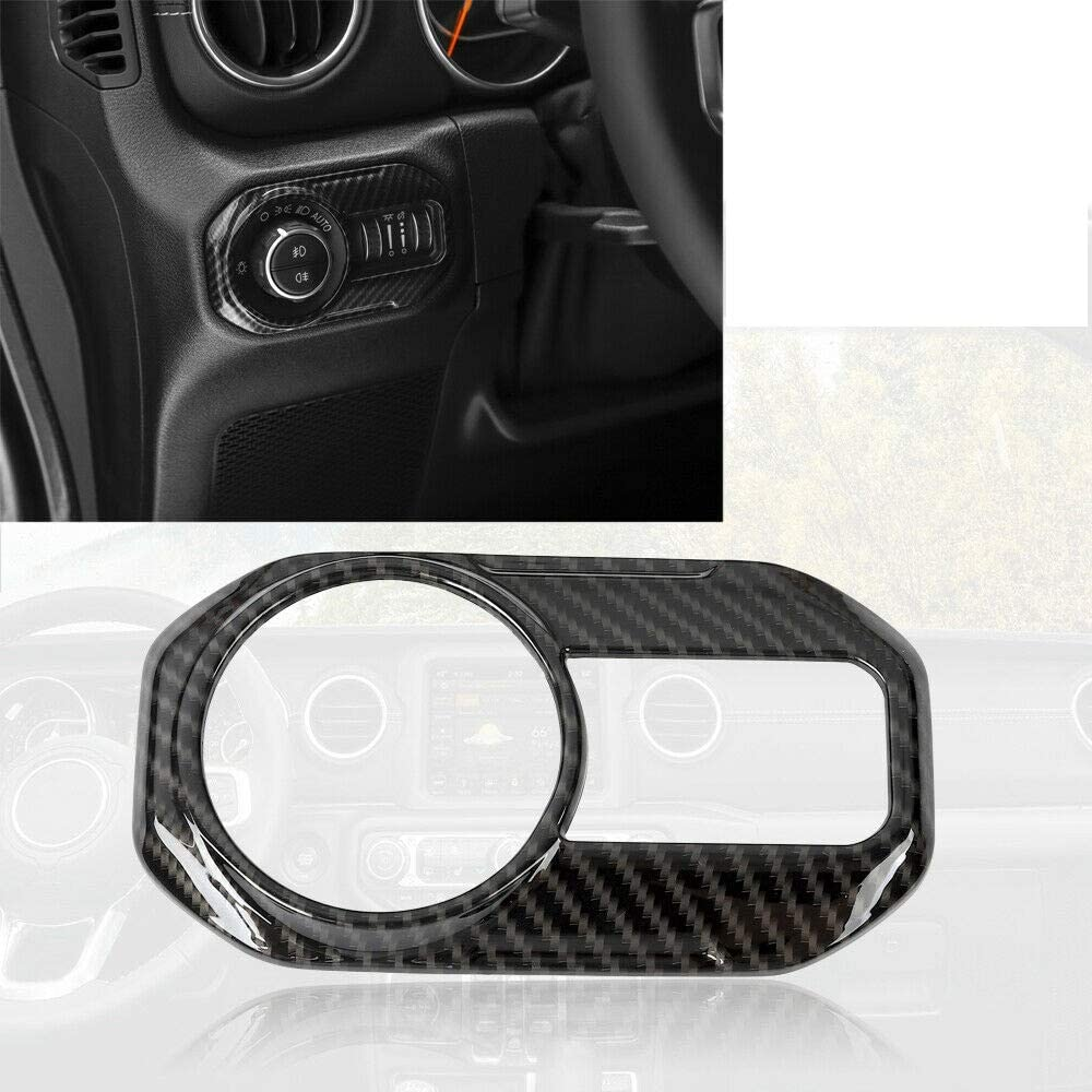 Door Handle bowl,Center Console,Gear Shift,Air Outlet,Headlight Interior Dashboard AC Air Vent Cover NO7RUBAN Carbon Fiber Style Full Set Interior Decoration Cover Trim for Jeep Wrangler JL 2018