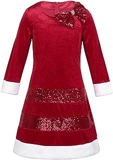 Les filles de Noël Enfants Robe Santa Renne Manche Longue Parti Robe Swing NOUVEAU UK