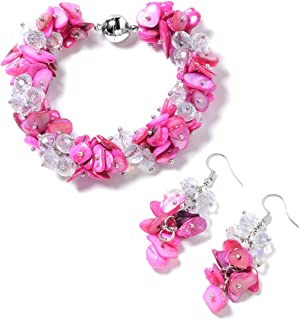 Shell Beads Earrings and Magnetic Clasp Bracelet Jewelry for Women 8