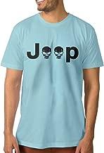 PTCYM Jeep Logo With Creative Skull Symbol Design Men's T Shirts SkyBlue