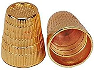 2Pcs Golden Metal Shield Slip Stop Finger Thimble Sewing Grip Protector Pin Needle For DIY Crafts Sewing