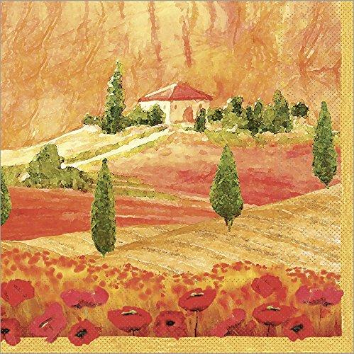 Sovie HORECA Serviette Lombardia | Tissue 33x33 cm | Malerisch Landschaft Kunst künstlerisch Gemälde | 100 Stück Terrakotta