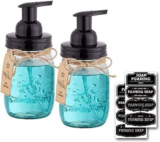 Elwiya 16 OZ Rust-proof Mason Jar Foaming Soap Dispensers with Waterproof Stickers - Black- 2 Pack